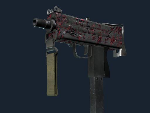 MAC-10 | Red Filigree (Battle-Scarred)
