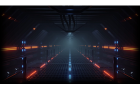 Cyberpunk corridor with particles, 60FPS