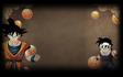 Goku and Gohan with Dragon Balls
